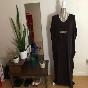 Chico's gold accent caftan maxi dress NWOT